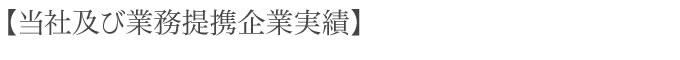 【当社及び業務提携企業実績】